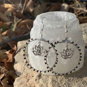 NWT Handmade BEADED Lotus Yogi Hoops